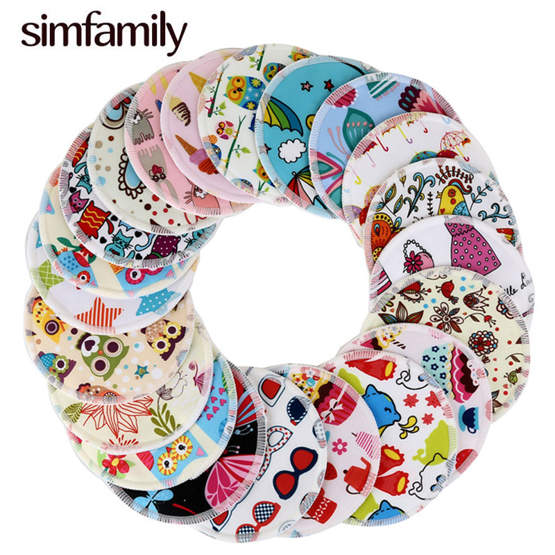 [simfamily] 10PCS Reusable Bamboo Breast Pad Nursing Pads For Mum Washable Waterproof Pregnant 12cm,Bamboo Fabric Material Inner