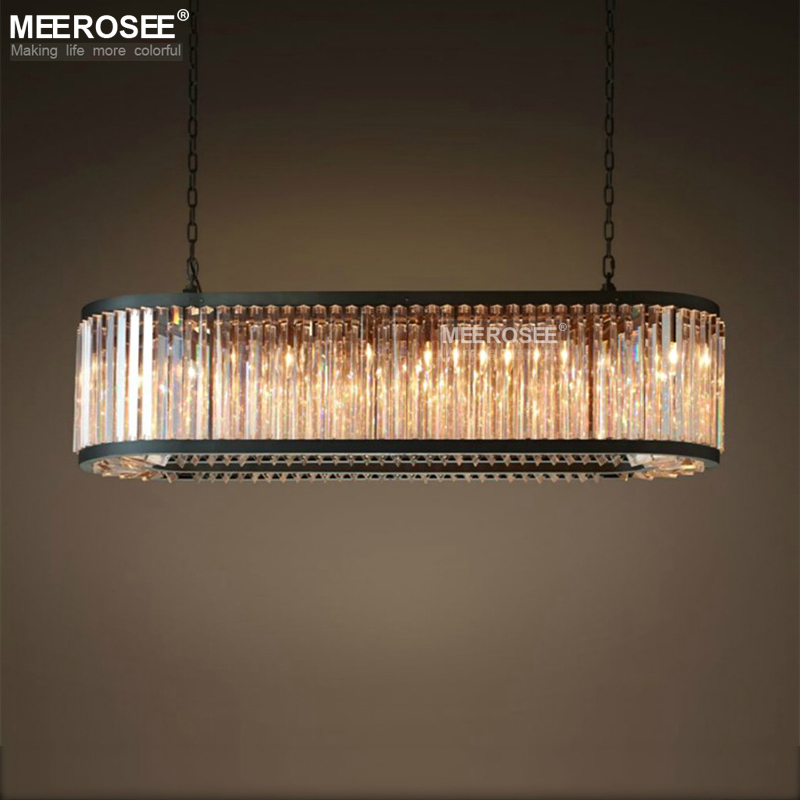 Vintage Crystal Chandelier Lighting Rectangle Luminaires Hanging Light for Restaurant Hotel American Style Drop Lamparas