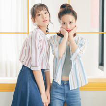 2017 Women'S Harajuku Ulzzang Stripes Collar Cute Shirt and Blouses Female Korean Kawaii Tops And Clothing For Women
