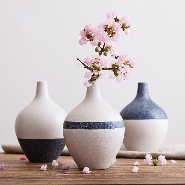 1pc Japanese Style Ceramic Vase Snowflake Glazed Round Flower Vase
