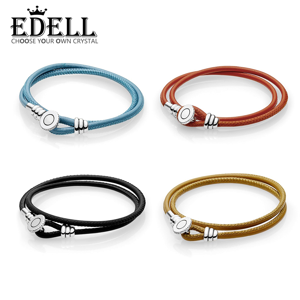 EDELL 100% 925 Sterling Silver 1:1 MOMENTS BLACK DOUBLE LEATHER BRACELET WITH BUTTON CLASP Golden Blue Orange Fabric Hand Rope fpvo 1 black fabric 70
