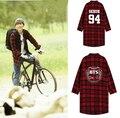 BTS Bangtan crianças k pop exo coletivo xadrez vermelho longo-sleeved camisa k-pop juventude teste balas solto casaco sud