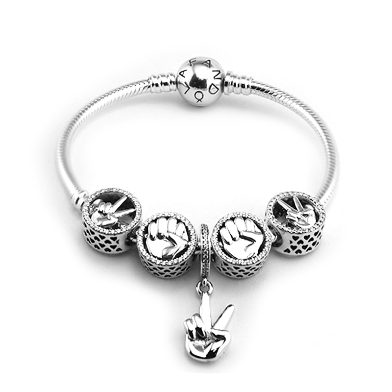 Around Bracelets with 5pcs Beads Charms in set 100% 925 Sterling-Silver-Jewelry Free Shipping free shipping 5pcs ds2482s 100 in stock