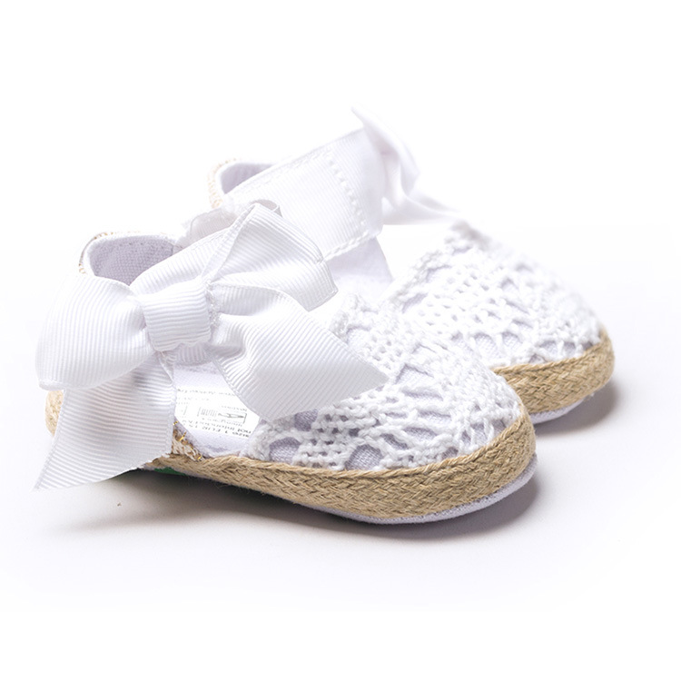 Lovely Baby girl shoes handmade crochet newborn bow soft sole crib shoes infant todder bebes first walker 11 12 13cm