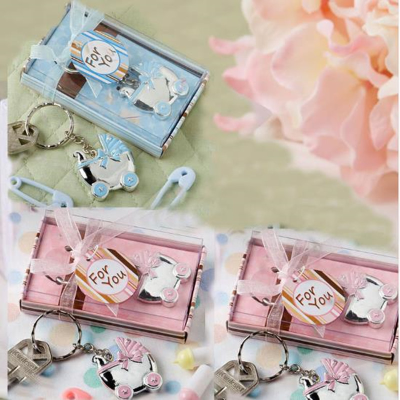 10pcs Baby Carriage Key Ring Favors Baby Shower Baptism Party Keepsake Birthday Keychain Gifts
