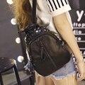 small women leather backpack for girls feminine knapsack school bags for teenagers rucksack mini backpacks rivet black 2S734