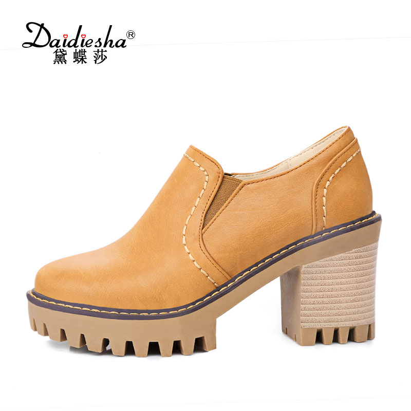 New 2017 Spring Casual Women Pumps Thick Square High Heels Slip-On Retro Round Toe Students Platform Female Shoes Big Size 2017 shoes women med heels tassel slip on women pumps solid round toe high quality loafers preppy style lady casual shoes 17