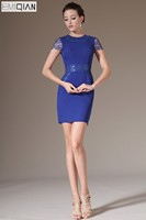 Freeshipping O Neck Short Sleeves Royal Blue Lace Formal Wedding Party Dress Mother of the Bride Dress