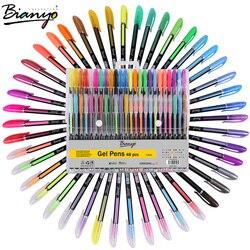 Bianyo 48 pçs conjunto de caneta gel recargas metálico pastel neon glitter esboço desenho cor caneta papelaria escola marcador para presentes das crianças