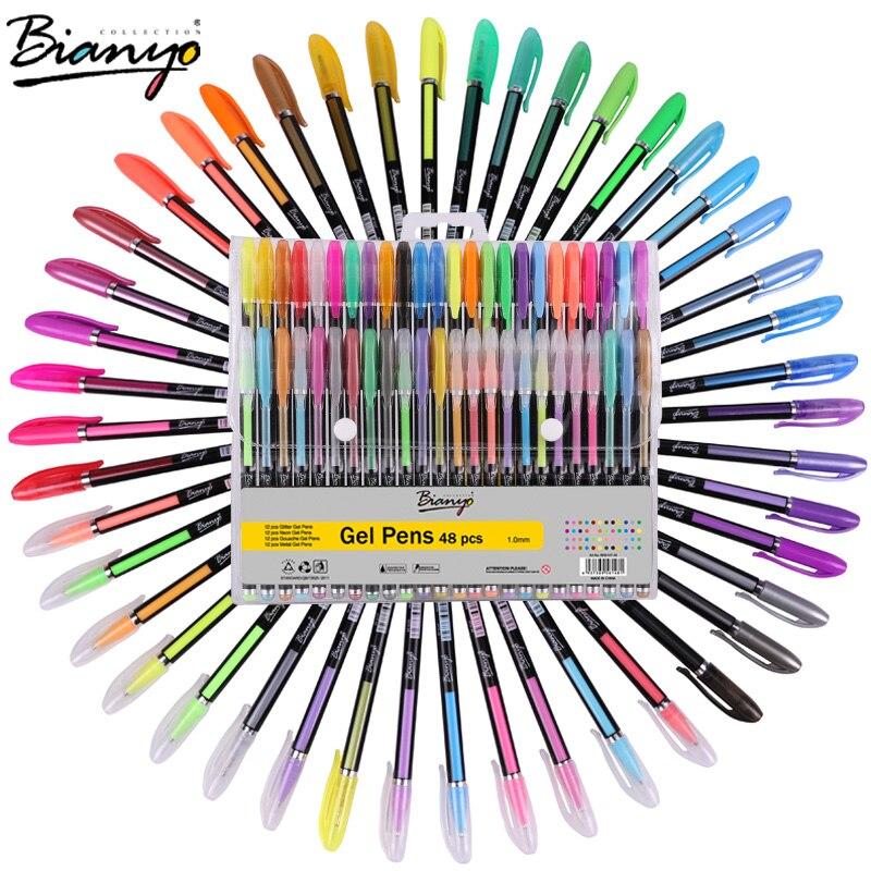 Bianyo 48 pz Set di Penne Gel Ricariche Metallic Pastello Neon Glitter Disegno Schizzo Scuola Penna di Colore Pennarello Cancelleria per I Bambini regali