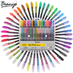 Bianyo 48pcs Gel Pen Set Refills Metallic Pastel Neon Glitter Sketch Drawing Color Pen School Stationery Marker for Kids Gifts