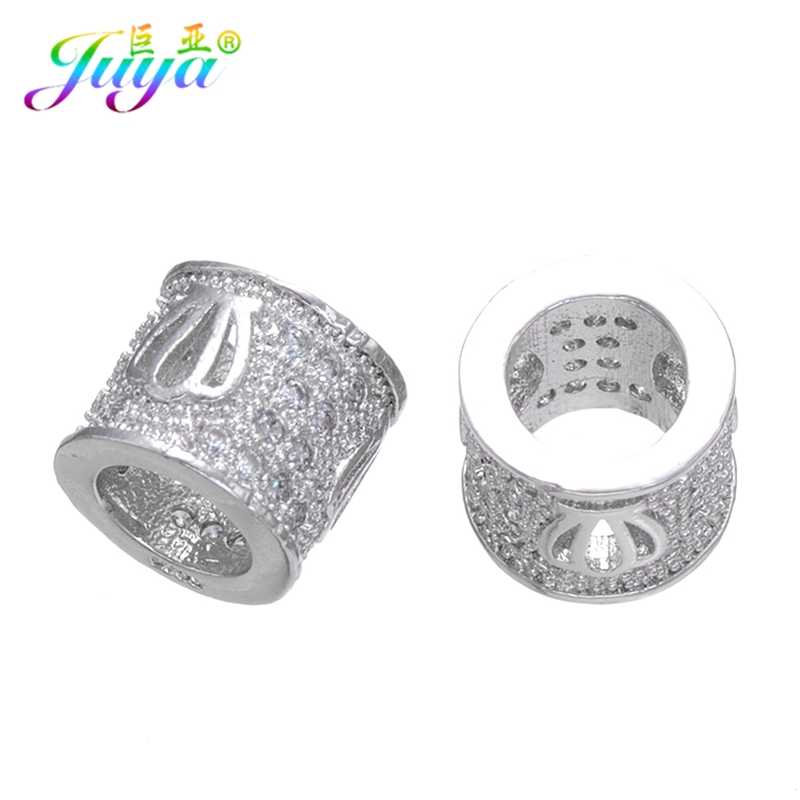 Juya 4pcs/lot Wholesale Jewelry Decoration Beads Gold/Silver/Rose Gold Tube Beads For Women Men Natural Stones Jewelry Making