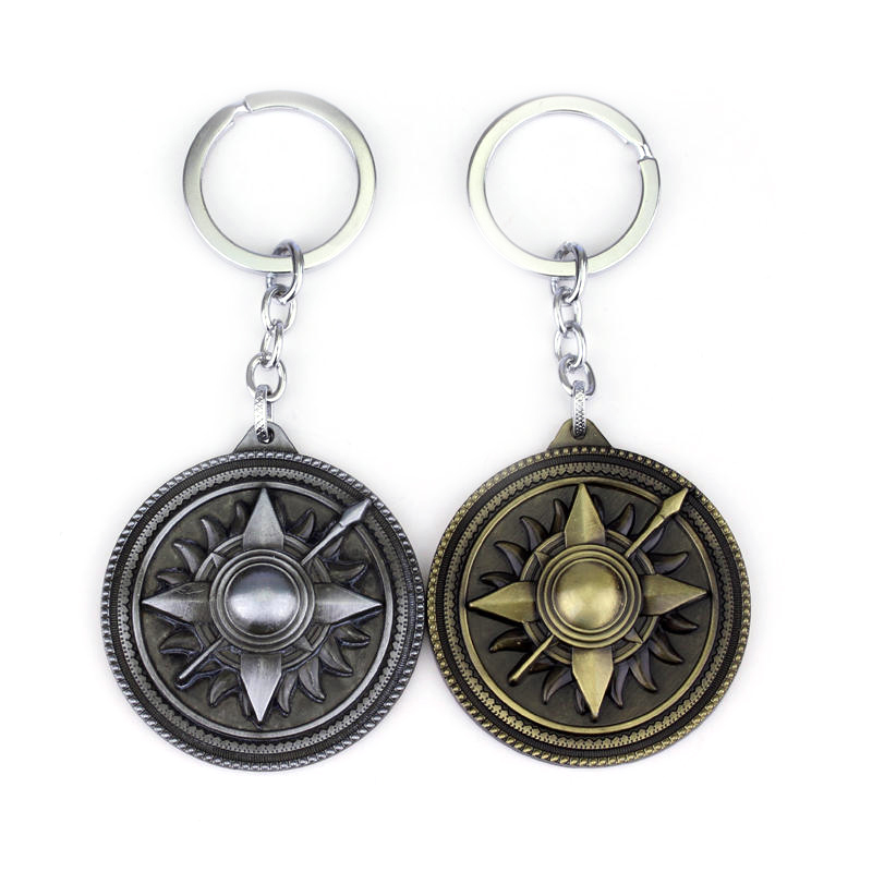 Game of Thrones Shield Round Coin Alloy Martell Keychain Pendant Key Chain Chaveiro Key Ring Car Pendant Jewelry Gift