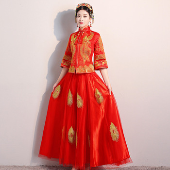 Novelty Chinese Women Wedding Qipao Red Mesh Dress Bride Toast Clothes Embroidery Traditional Marriage Cheongsam Suit S-XXL