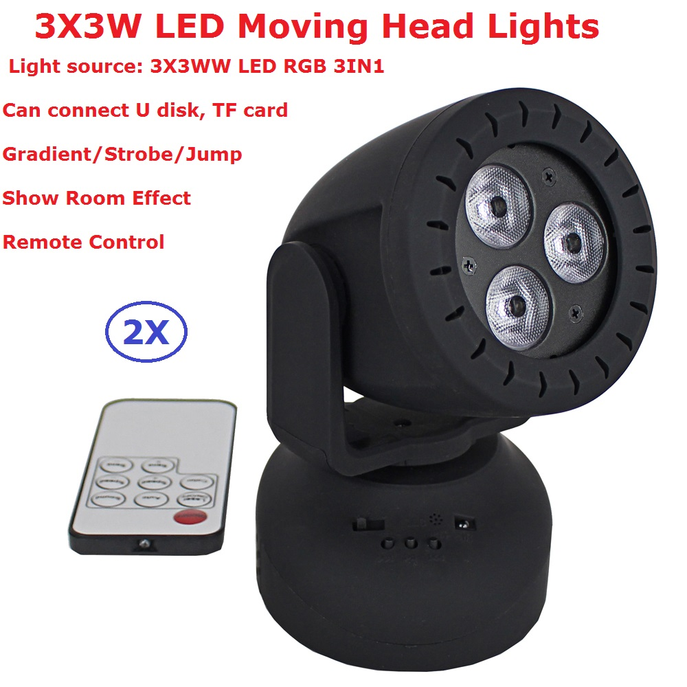 TopBrite 12W Mini LED Stage Lights 3 Leds RGB 3IN1 LED Moving Head Lights Wash Effect Stage Lamp Sound Activation Remote Control