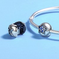 Authentieke 925 Sterling Zilver Heldere Ster Clip Bead CZ Stopper Charm fit Europese Bedels Pandora Armbanden Sieraden