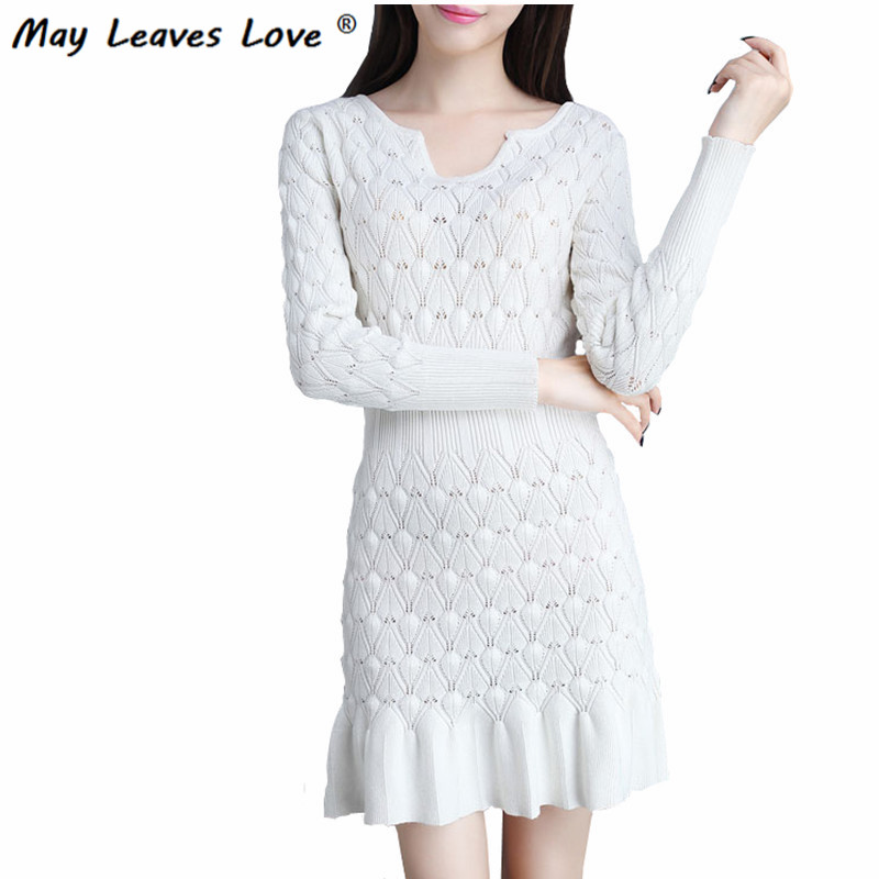 May Leaves Love Long Sleeve Hip Package Trumpet Dress Women Slim Solid Knitted Dresses Black White Blue Free Shipping LR0282