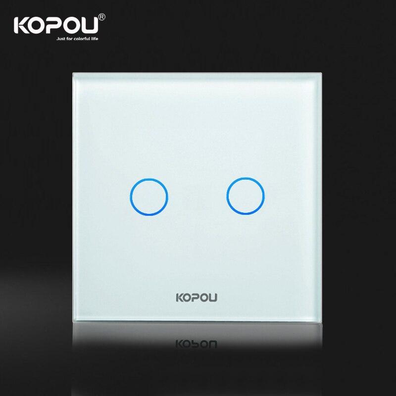 KOPOU Touch Screen Light Switch/Wall Switch EU Standard 2 Gang 2 Way ...