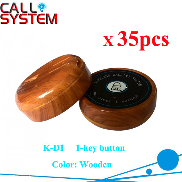 K-D1 wooden 35pcs Wireless restaurant guest paging button