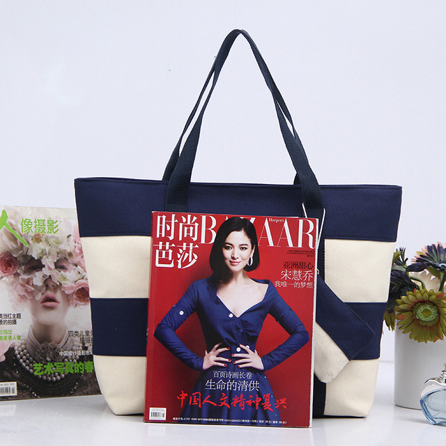 Women Canvas Handbag Zipper Shopping Bag Girl's Tote Hand Bag Ladies Casual Purse Foldable Canvas Crossbody Bags 2