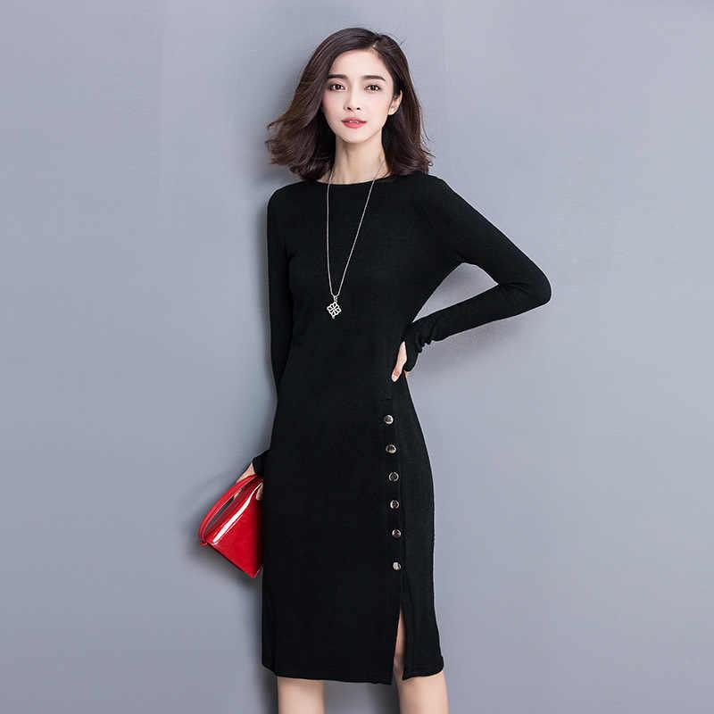 655701622ec Облегающее офисное зимнее платье плюс размер XXXL раздельный вязаный свитер  платье с длинным рукавом 2018 осень