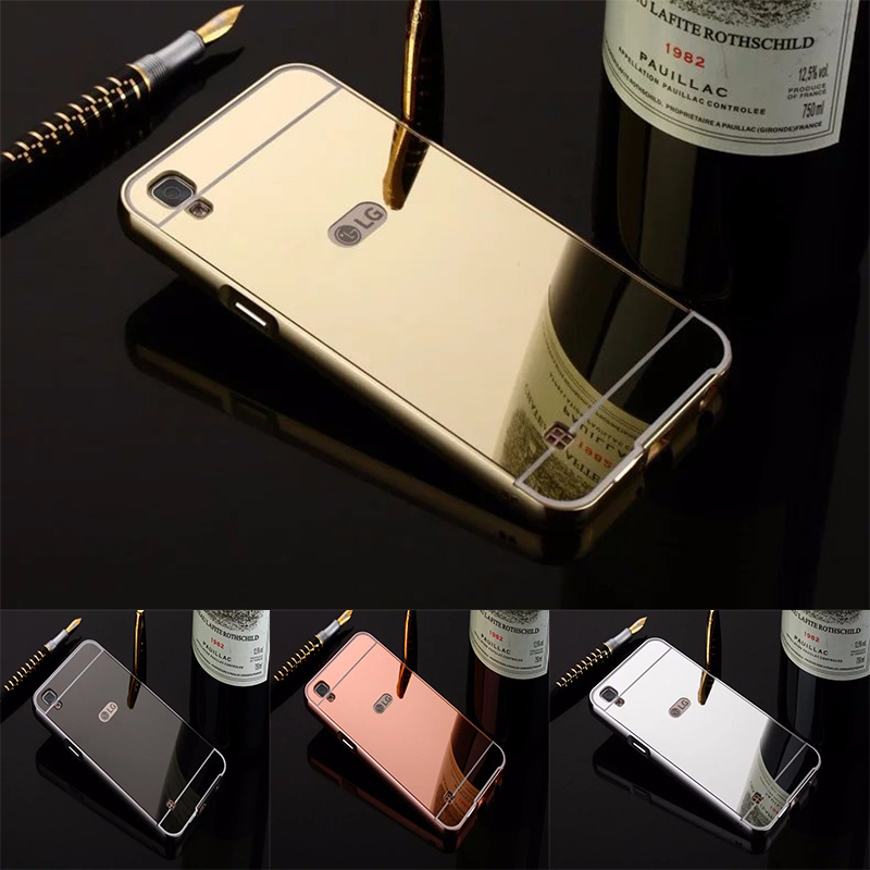 Fashion Luxury Rose Gold Mirror Cases For LG X Screen K500N X Cam K580 Alumimum Metal Frame Cover for LG X Power K220DS K220Y