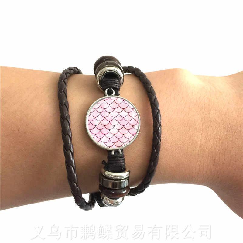 Fait à la main En Verre Dôme Bracelet Sirène Écaille de Poisson Motif Classique Réglable Bracelet En Cuir Noir/Marron 2 Couleurs Cordons En Cuir