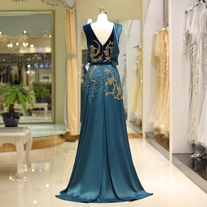 Image 2 - Женское винтажное вечернее платье, зеленое элегантное платье из велюра с v образным вырезом, бисером и атласным низом, а силуэта, горячая распродажа, 2019