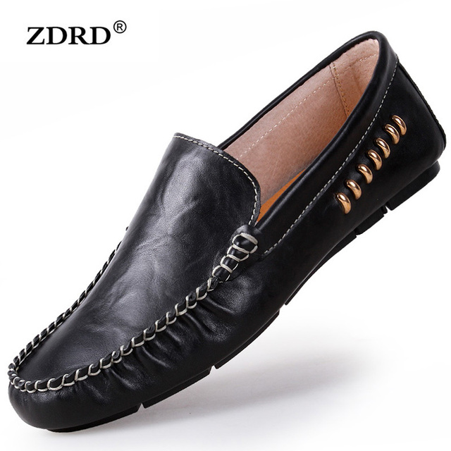2016 New Men Flats Shoes Genuine Leather Mens Loafers Shoes Soft Fashion Breathable Driving Shoes Moccasins Chaussure Homme