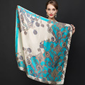 90cm*90cm 2017 Big Size Silk Square Scarf Women Fashion Brand High Quality Genuine 100% Silk Scarf Female Shawl Hijab