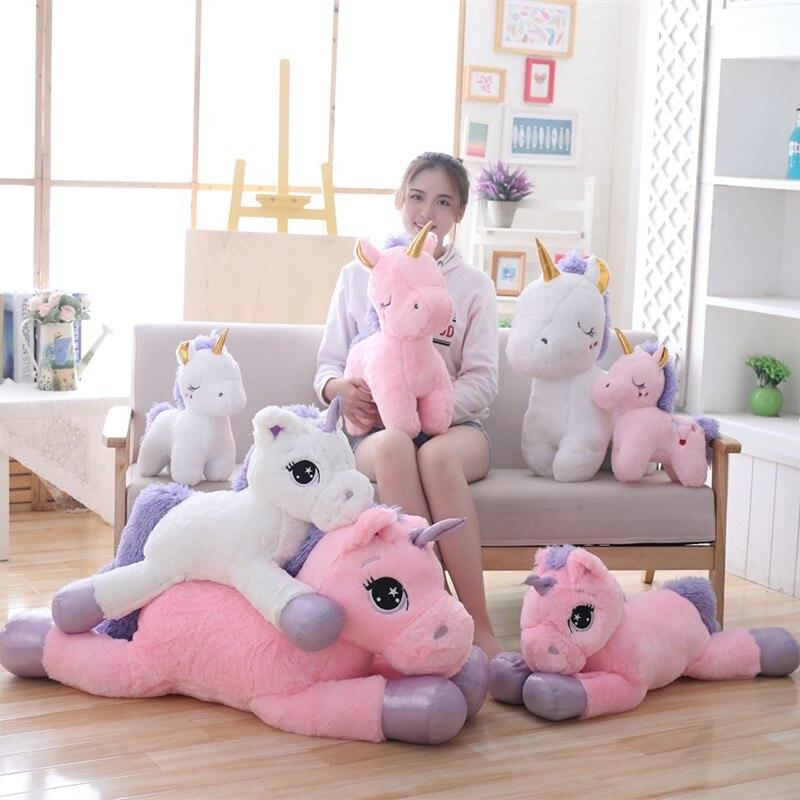 Гигантская плюшевая игрушка единорог 80/110 см, мягкие Мультяшные игрушечные единороги, лошадь, высокое качество, рождественский подарок для детей, девочек