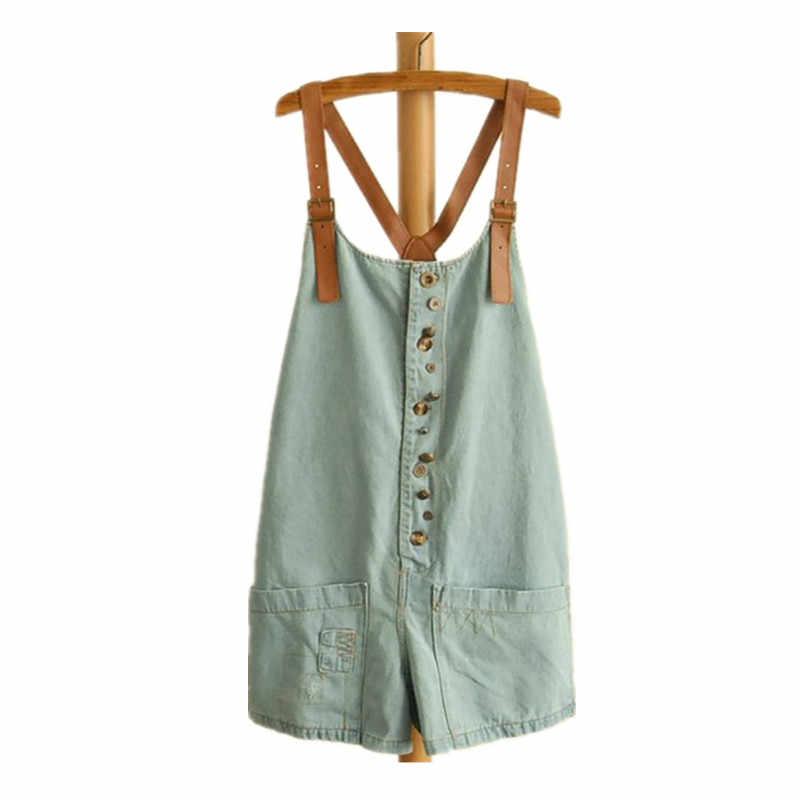 Na co dzień krótkie niebieski Jean pajacyki lato japoński Mori dziewczyna denimowe fartuchy luźne Playsuit Overol Mujer otwory kombinezony 92602