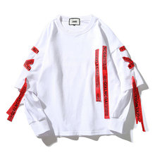 Новинка, толстовки в стиле хип-хоп, уличная одежда для мужчин, удобная футболка с длинными рукавами и круглым вырезом, толстовки с ленточками, Прямая поставка ABZ304