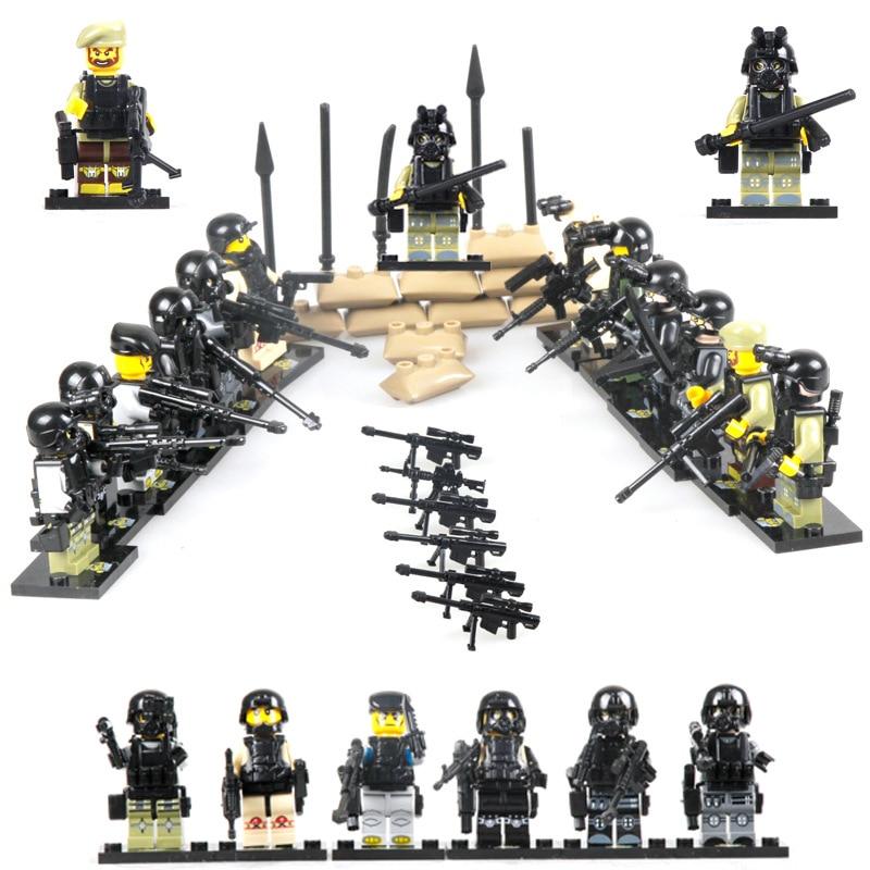 12PCS LegoINGlys Militære terrorangrep By politi Swat Team Army soldater Våpen Guns Heroes Første verdenskrig WW2 Figurer Blokker