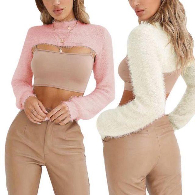 2018 Hot Sale Super Short Cardigan Women Sexy Basic Knitted Pullover Sweater Fashion Long Sleeve Casual Spring Autumn Sweater