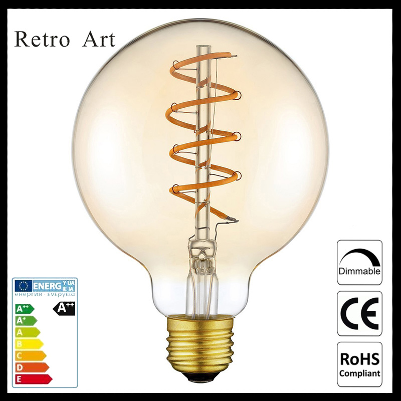 vintage Edison style LED filament bulb 4W G95 antique soft LED filament bulb 5pcs e27 led bulb 2w 4w 6w vintage cold white warm white edison lamp g45 led filament decorative bulb ac 220v 240v