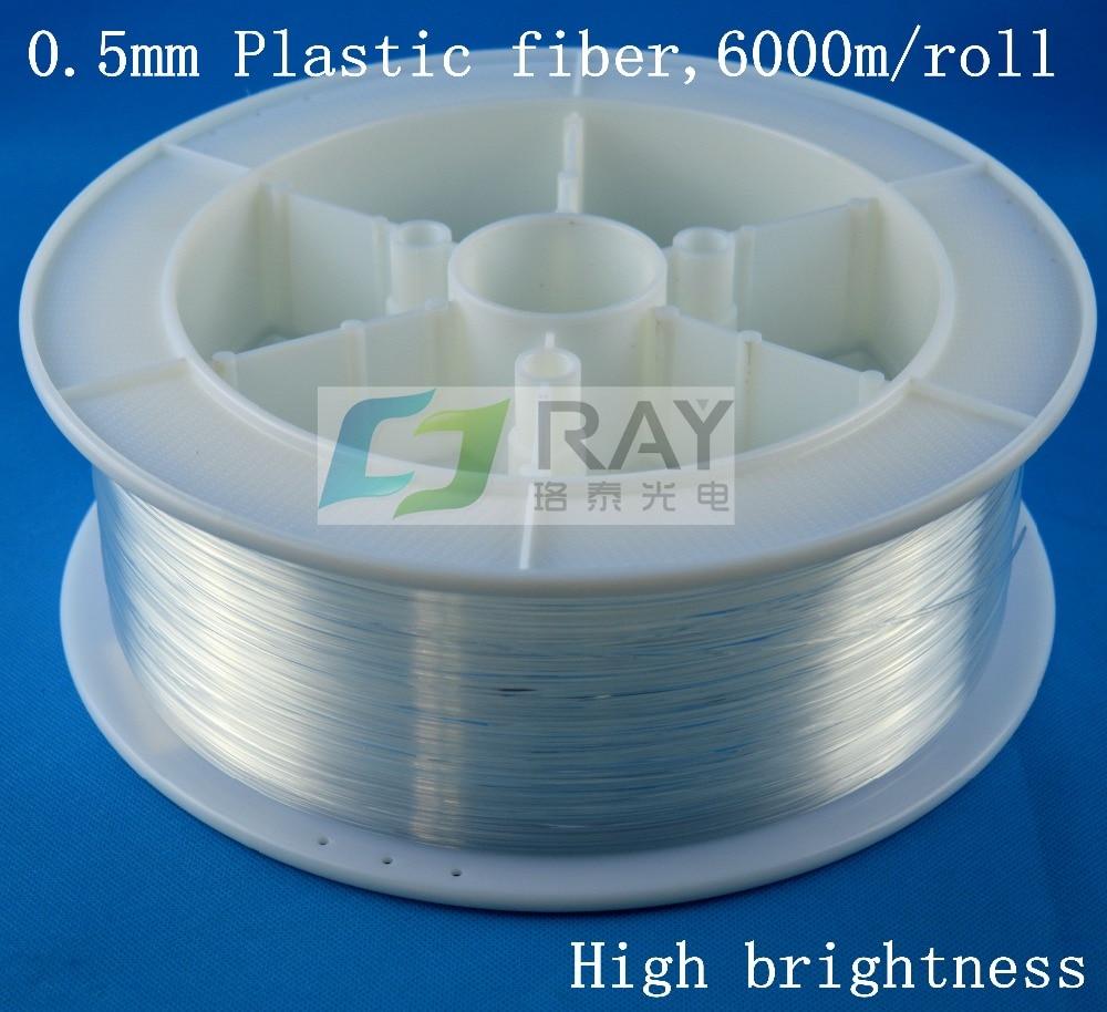 0.5 мм диаметр, 6000 м/roll, высокая яркость, ПММА пластиковое оптоволокно освещения