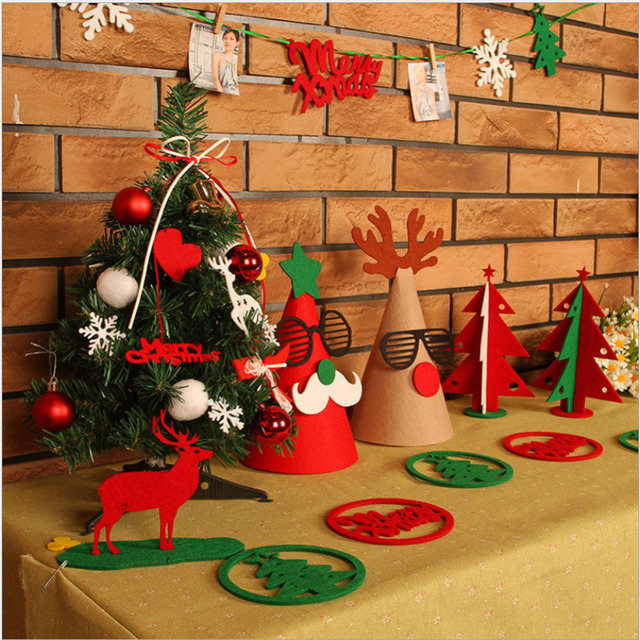 merry christmas decorations suits banner flag xmas tree party decor diy props set christmas tree decorations - Merry Christmas Decorations