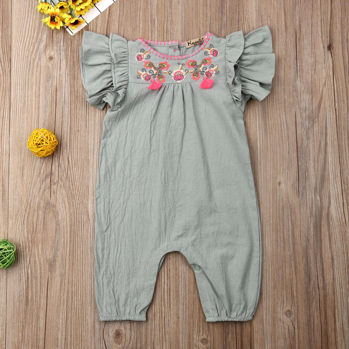 Emmababy Summer Newest Fashion Newborn Baby Girl Clothes Solid Color Fly Sleeve Ruffle Flower Romper Jumpsuit Outfit Sunsuit