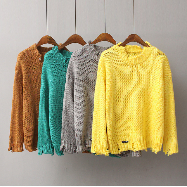 Women Frayed Details Thick Knit Sweater Pullover-in Pullovers from ...