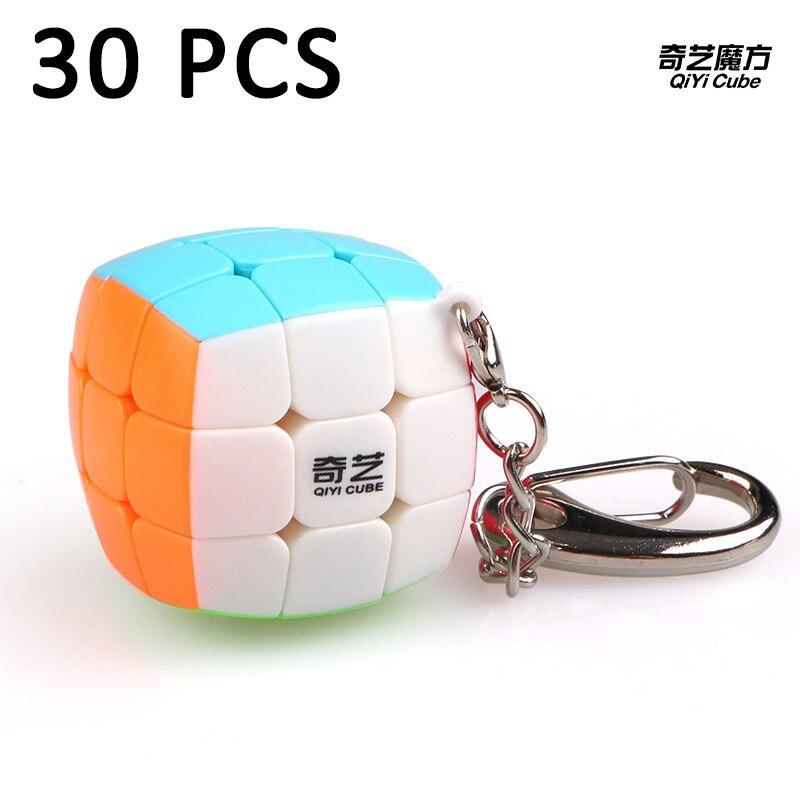30 pcs QiYi 30mm Porte-clés Cubo magico 3x3x3 Magic cube Vitesse Lisse Puzzle cube Éducation jouet Pour Enfants Classique Jouets Neo Cube