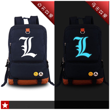 High Quality Japanese Anime Death Note L Lawlilt Luminous Printing Man Women Backpack School Bags