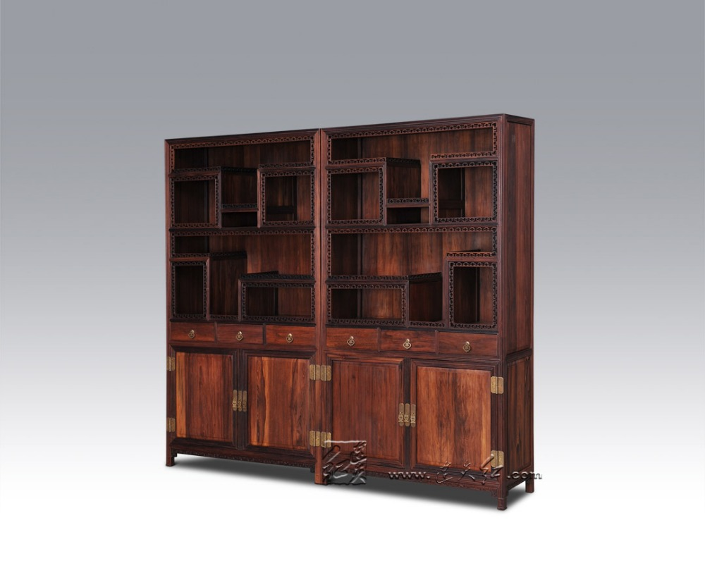Clic Solid Wooden Bookcase Cabinet With Lockers Mahogany Cupboard Chinese Antique Display Stand Rack Furniture Rosewood Sark In Bookcases From