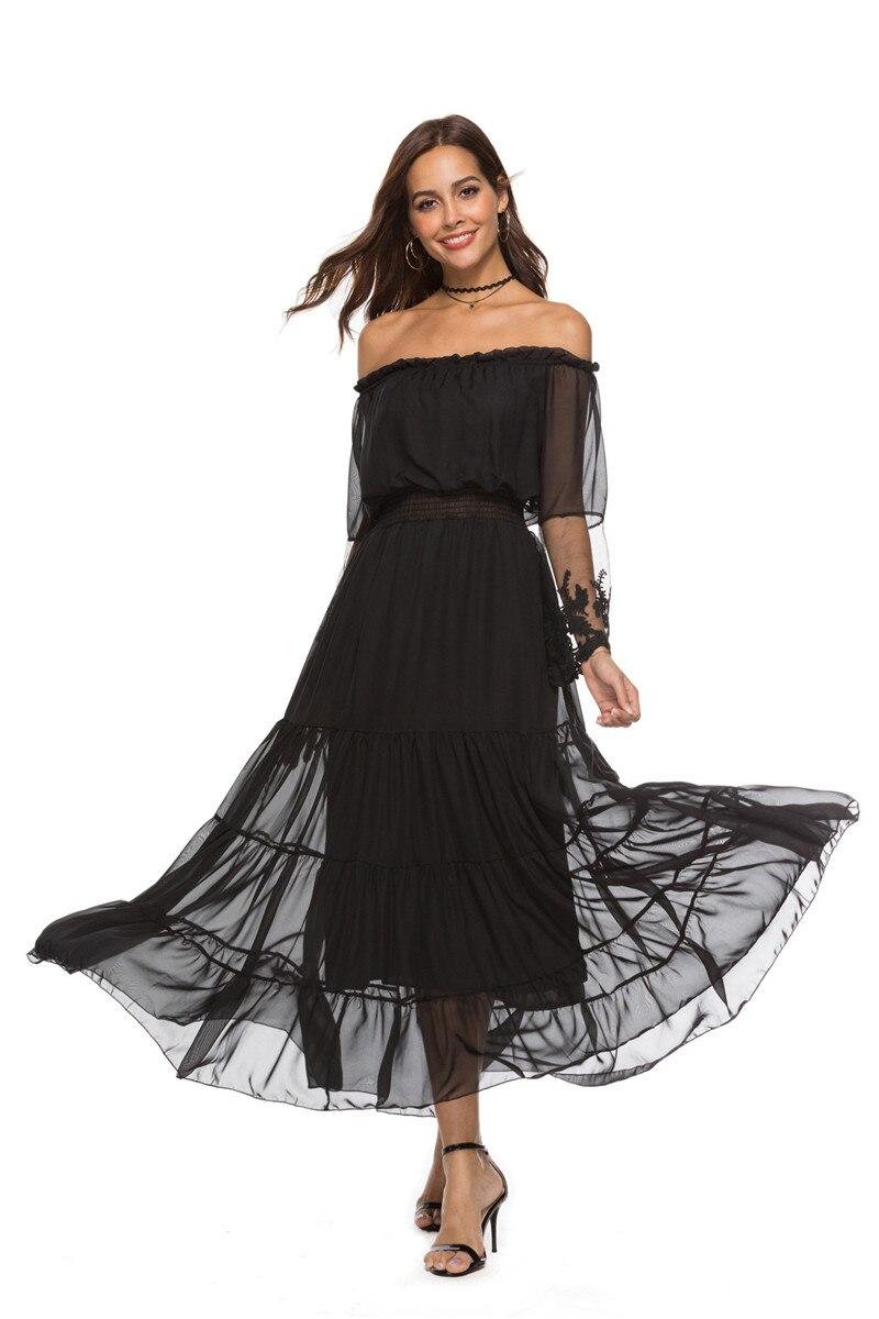 2018 femmes été automne noir maille transparente hors de l'épaule dentelle fête Maxi robe à volants à manches longues femmes robe Feminino Vestido