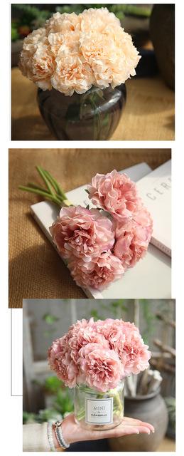 Sztuczne kwiaty piwonia bukiet do dekoracji ślubnych 5 głów piwonie fałszywe kwiaty Home Decor Silk Hydrangeas tanie kwiat tanie i dobre opinie Jedwabiu Sztuczne kwiaty z sutonefeel SF183141 Ślub Bukiet kwiatów Hortensja sztuczne kwiaty fałszywe kwiaty Hortensja