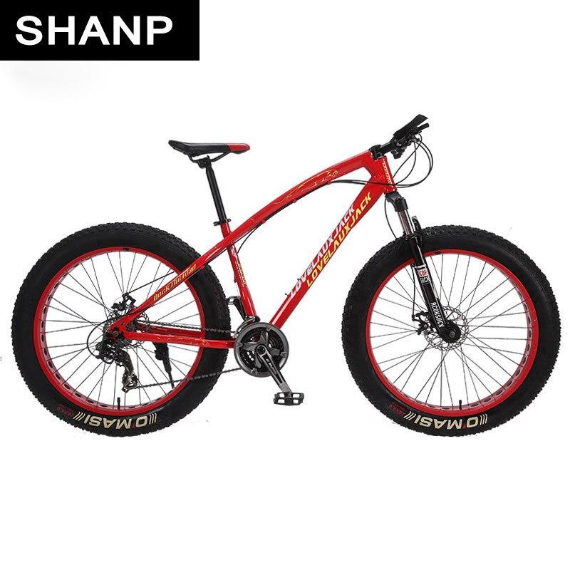 LOVELAUXJACK Mountain Bike Steel Frame 24 Speed Shimano Disc Brakes 26x4.0 Wheels FatBike