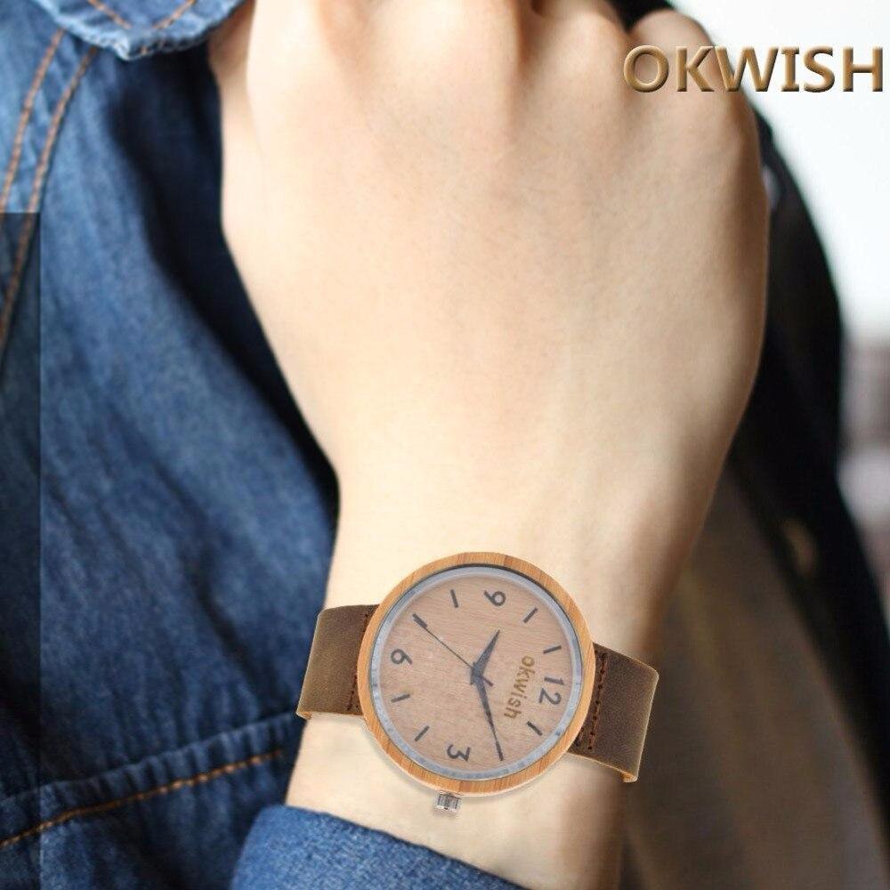 3af8c2d5f5a Moda Mulheres Relógio Feminino Montre Femme Relógio de Senhoras Do Vintage  Grão de Madeira de Couro Analógico hora de relógio De Quartzo-relógio