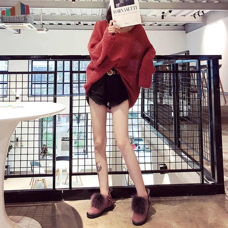 YIBING1517 Moda Gerçek Tilki Kürk Inek Süet Deri Kadın Kış Kar Botları Kadın Kış Ayakkabı Kürk Ayak Bileği Botas Mujer