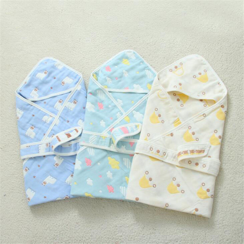 Baby Blanket Infant Muslin Cotton Breathable Envelop Swaddle Wrap Blankets For Newborn Baby Hooded Sleepsack Blankets Sleeping B