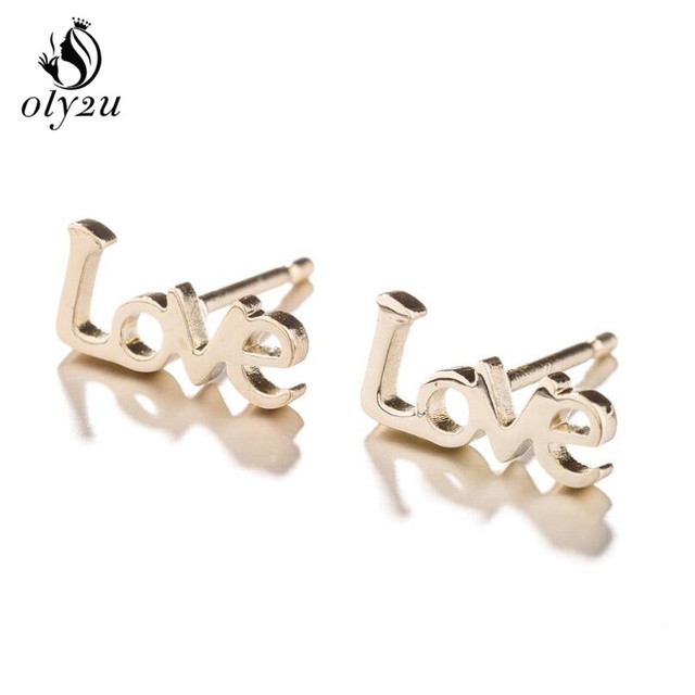 Oly2u Letters Stainless Steel Earrings Letter Of Love Stud For Women Jewelry And Accessories Bts